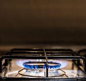 Gas Hob In A Modern Kitchen. Gas Hob In A Modern Kitchen
