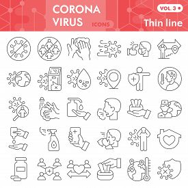 Coronavirus Thin Line Icon Set. Covid-19 Symbols Collection Or Vector Sketches. Corona Virus Signs F