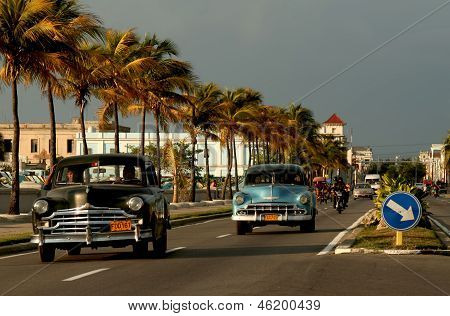 Old Cars On Malecon In Cienfuegos, Cuba