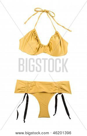 Golden Metallized Halter Bikini With Bows