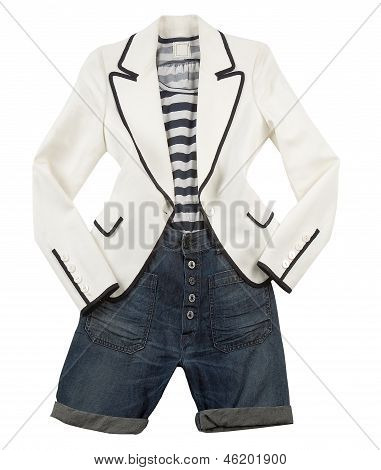 White Blazer With Striped T Shirt And Denim Shorts
