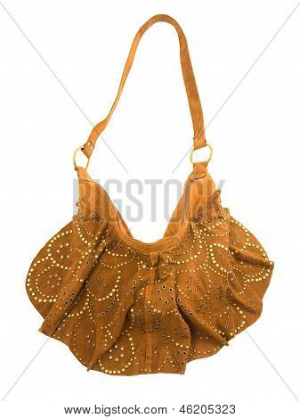 Brown Studded Suede Purse