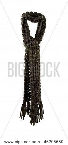 Dark Grey Knit Woolen Fringy Scarf