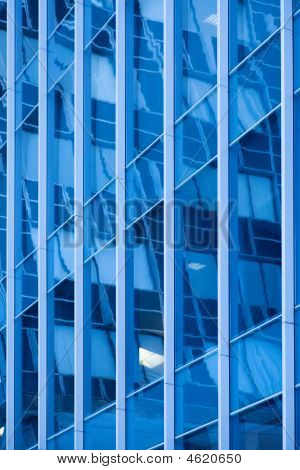 blue building abstract detail windows far away poster