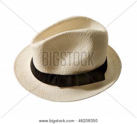 Raffia Fedora Hat With Black Band