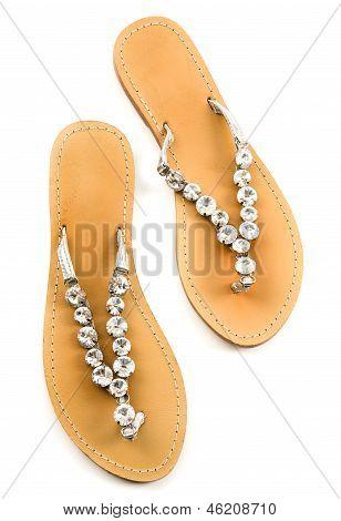 Big Carved Crystals Flip Flop Sandals