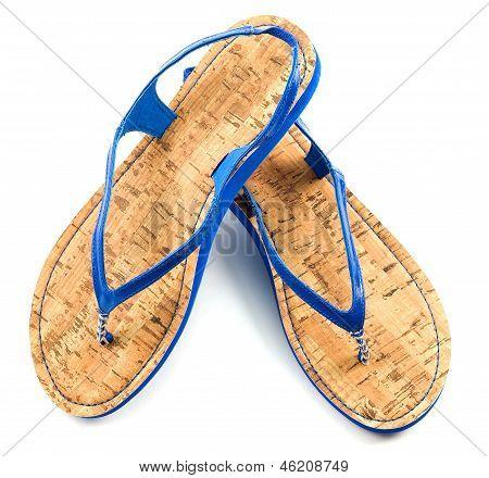 Cork Soled Blue Flip Flop Sandals