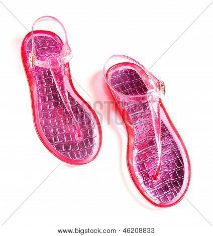 Pink Transparent Silicone Flip Flop Sandals