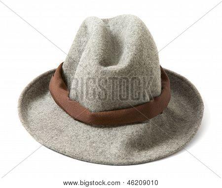 Grey Felt Fedora With Brown Hatband