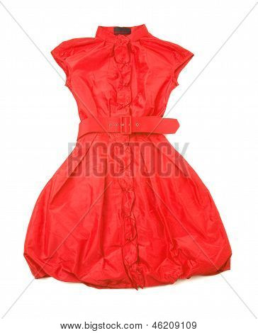 Red Belted New Look Buble Sleeveless Dress