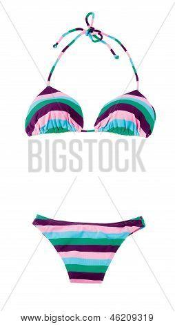 Halter Striped Multicolored Bikini