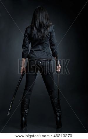 Asian woman with a sword