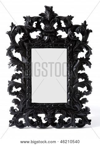 Baroque Black Painted Carved Wood Mirror Frame