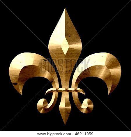 Fleur De Lis Gold Black