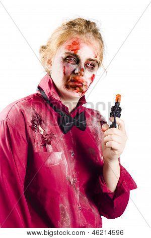 Beaten Woman Holding Handgun