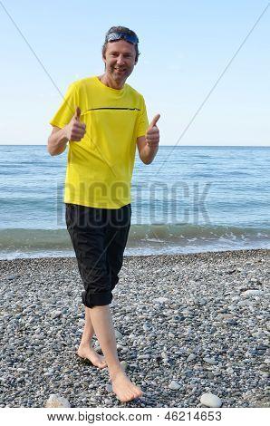 Male tourist at the beach