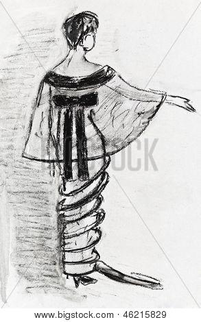 Lady Evening Velvet Dress And Taffeta Tippet 1914 Year