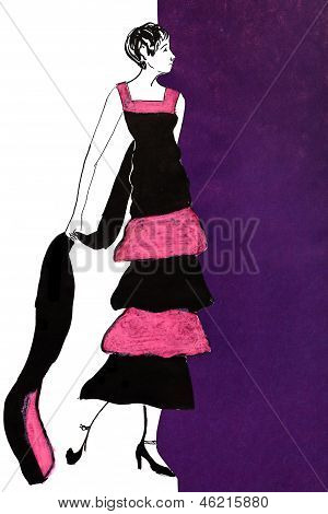 Full Dancing Frock In Pink And Black Chiffon Stripes 20Th Years