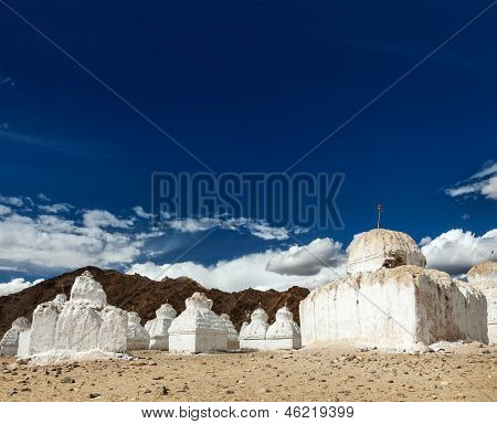 Whitewashed chortens (Tibetan Buddhist stupas). Ladakh, Jammu and Kashmir, India