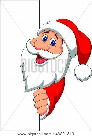 Santa cartoon with blank sign