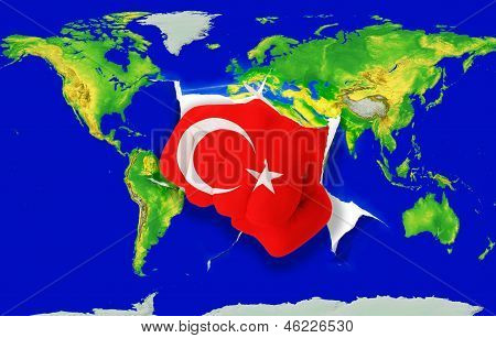 Fist In Color  National Flag Of Turkey    Punching World Map