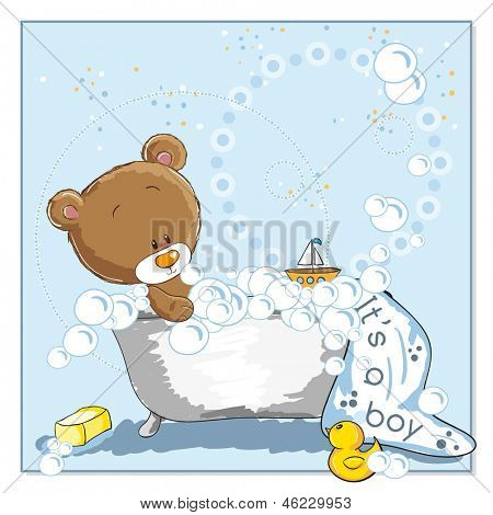 It's a boy - announcement card - Little bear bathing