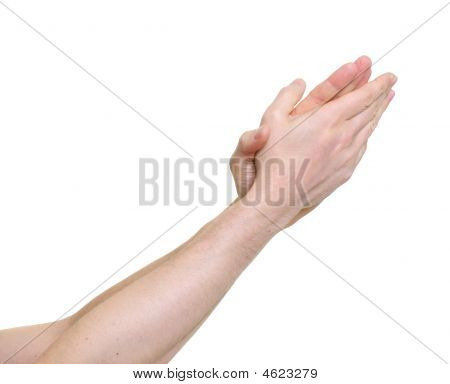 Clapping Hands Giving Applause Over A White Background