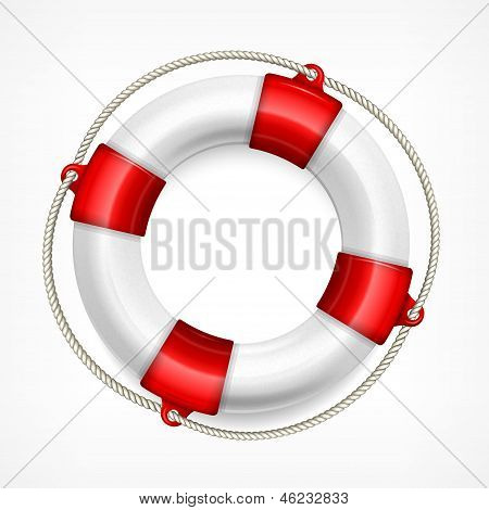 Life Buoy On White