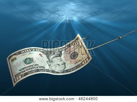 Fish Hook With Dollar.
