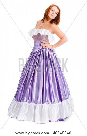 young attractive woman in long lilac-coloured ball dress isolated on white background