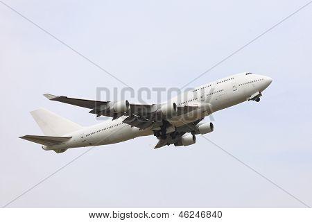 Big passenger airliner taking off