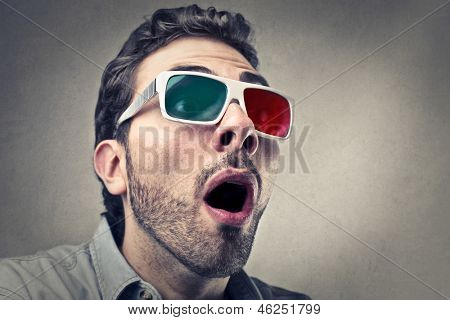 portrait of amazed man with 3d glasses