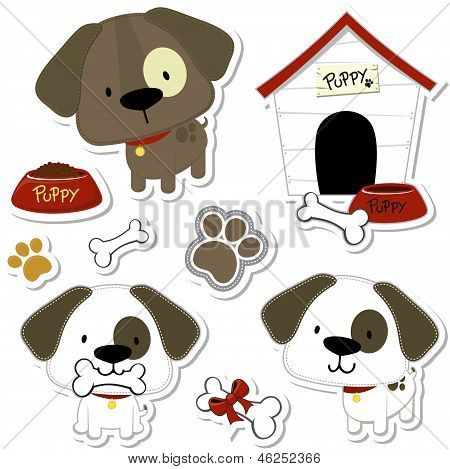 baby dogs and puppy vector elements