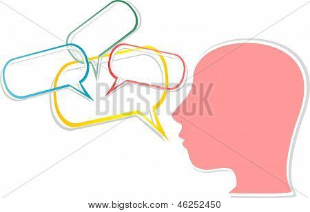Girl Head With Comic Bubbles