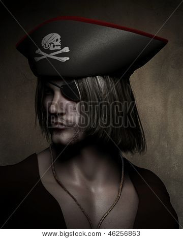Three quarter dark atmospheric portrait of a pirate captain with hat with skull and cross bones and eyepatch, 3d digitally rendered illustration poster