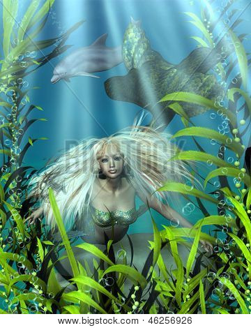 Green and Blue Mermaid Peering through Seaweed