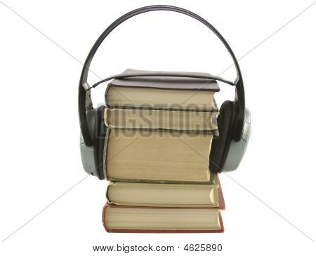 Audiobook Conception With Headphones And Books
