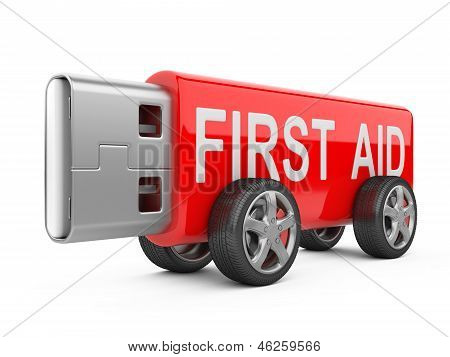 Usb Flash Drive On Wheels - First Aid Concept