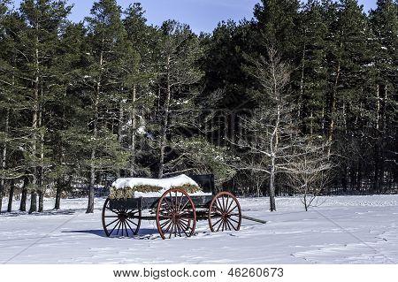 Vintage Hay Wagon in the Snow