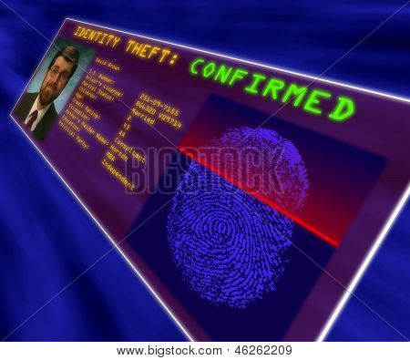 A Virtual Reality Display Confirming Identity Theft