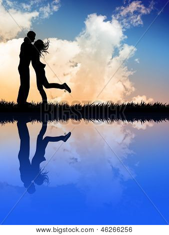 Lovers At Sunset With Reflection