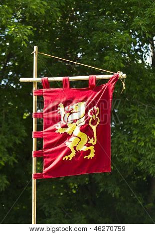 Knight's Flag Golden Lion On A Red Background