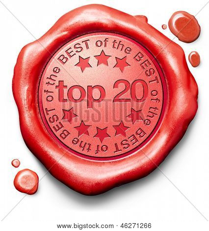 top 20 charts list pop poll result and award winners chart ranking music hits best top quality rating prize winner icon red wax seal stamp