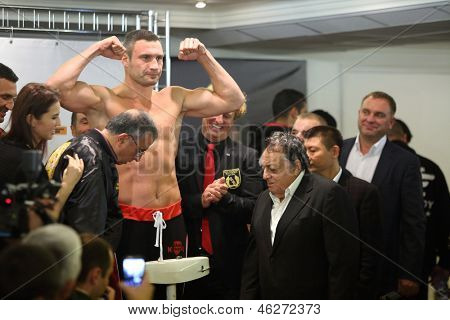 MOSCOW - SEP 7: Weighing boxer Vitali Klitschko before the fight with Manuel Charr in the Sports Complex on September 7, 2012 in Moscow, Russia.