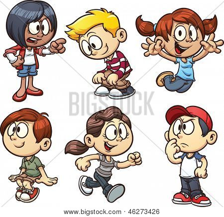 Cartoon kids. Vector clip art illustration with simple gradients. Each on a separate layer.