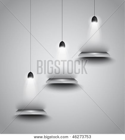 Shelves with 3 spotlights lamp with directional light for product advertisement, shopfront simulation or wall decoration.