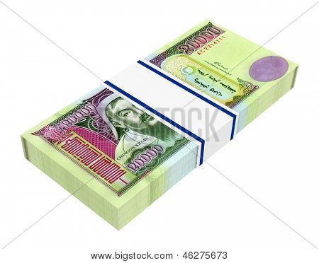Mongolian money isolated on white background. Computer generated 3D photo rendering.