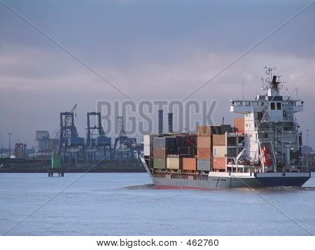 Container Ship Approaching Docks