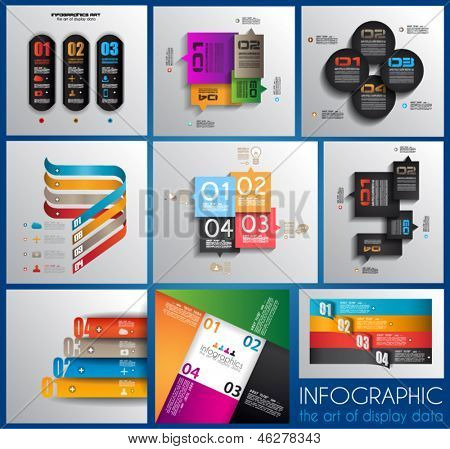 Infographic design templates collection with paper tags. Idea to display information, ranking and statistics with orginal and modern style. 9 pieces.
