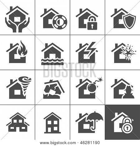 Eigenschap verzekering icon set. Vectorillustratie. Simplus serie